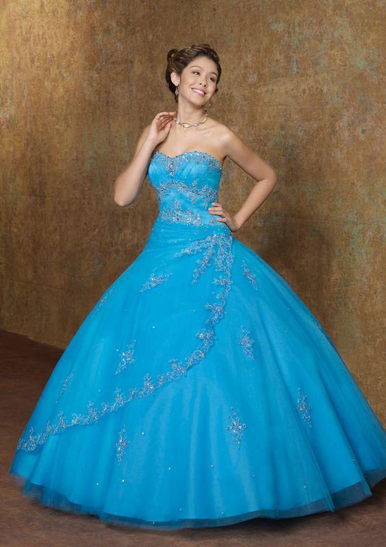 Vestidos de quince azul turquesa