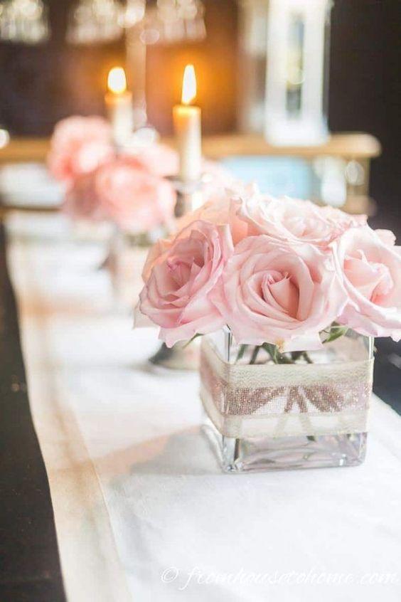 Centro de mesa XV color rosa