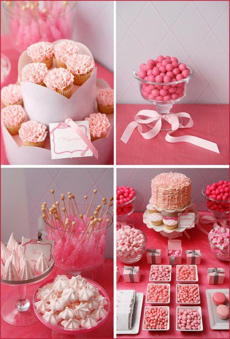 Mesas de postres de quinceañera color rosa
