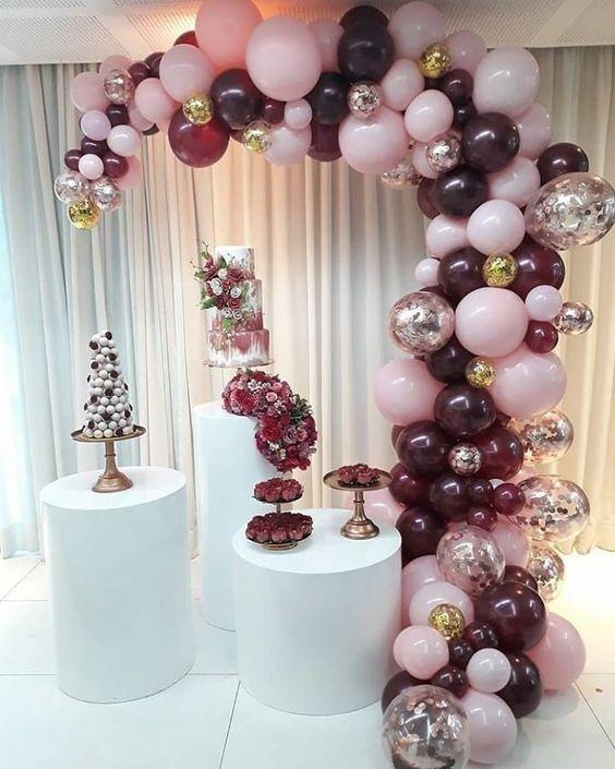 Decoracion de fiesta de quinceañera en color rosa