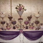 Mesa de postres para quinceañeras color morado