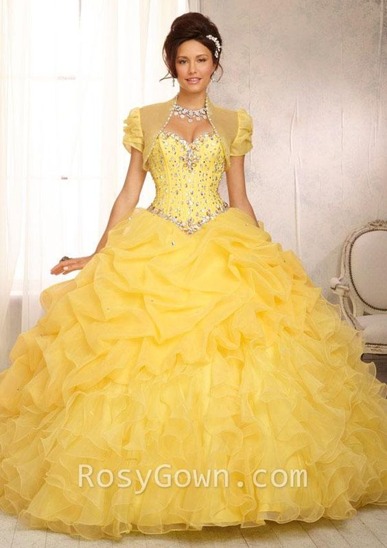 ideas de vestido para quinceaneras color amarillo 18