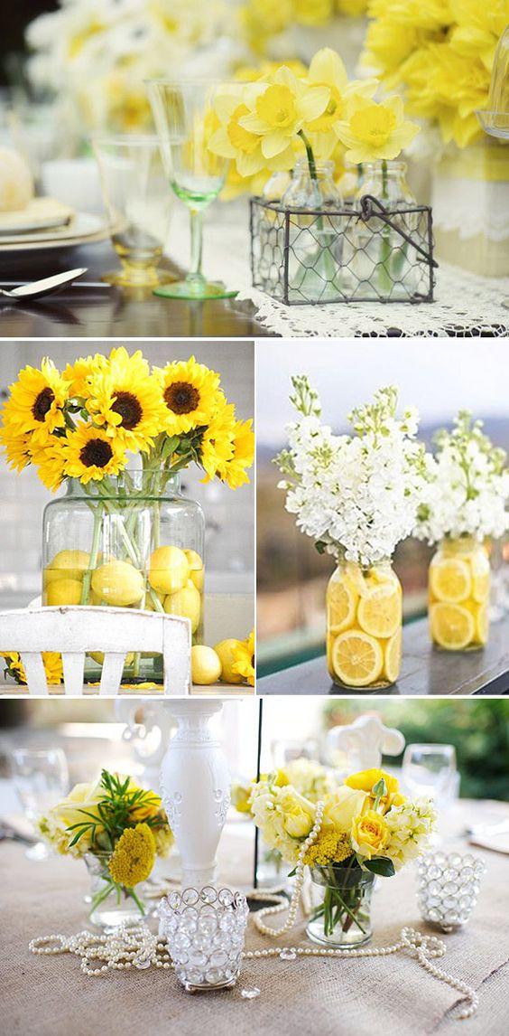 Centros de mesa para quinceanera color amarillo 16 ideas for Decoracion 70 80
