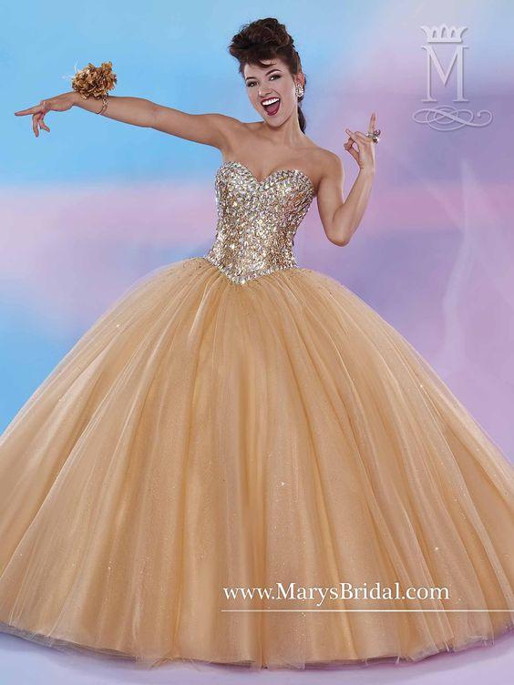 1518243cd vestidos-para-quinceanera-color-dorado-13 - Ideas para Fiestas de ...