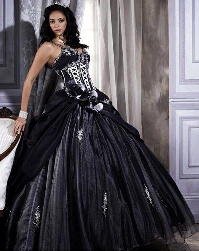 Vestido de xv negro con morado