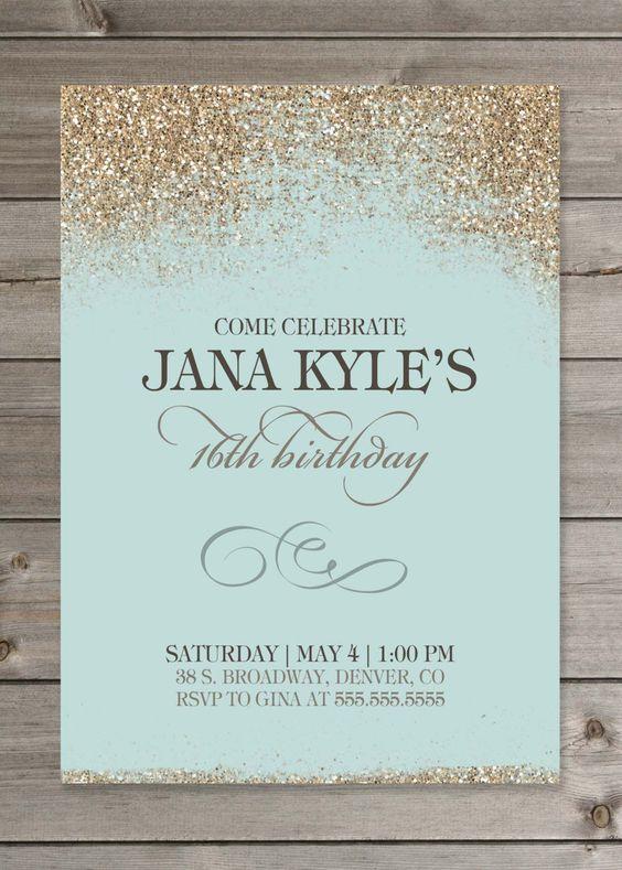 Invitaciones con glitter para XV años