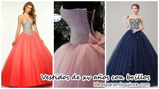 7ba9a1617 Vestidos de xv años con brillos - Ideas para Fiestas de quinceañera -  Vestidos de 15 años invitaciones de quinceañera