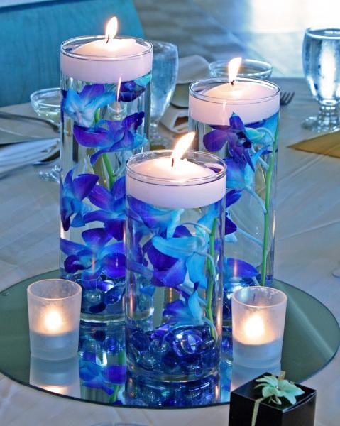 Centros mesa xv anos color azul 1 ideas para fiestas for Decoracion de pared para 15 anos