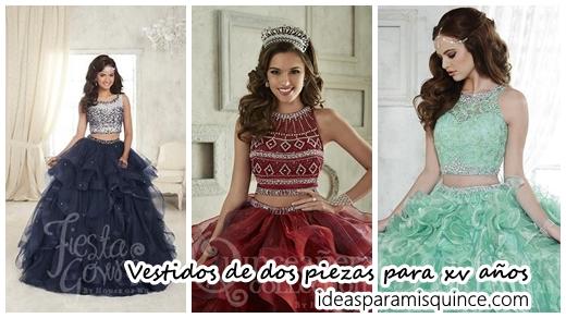 75f372a1b Diseños de vestidos para xv años de dos piezas - Ideas para Fiestas de  quinceañera - Vestidos de 15 años invitaciones de quinceañera