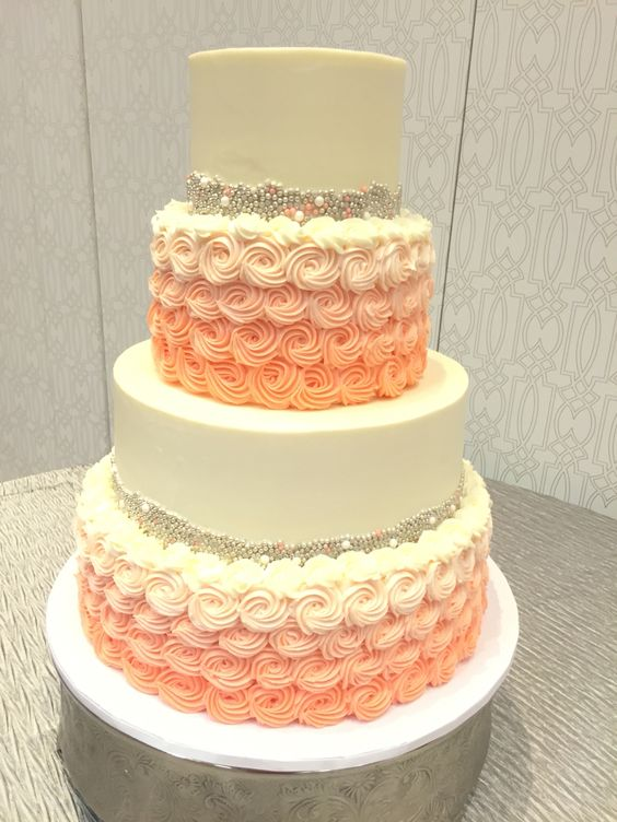 Coral And Teal Wedding Cakes