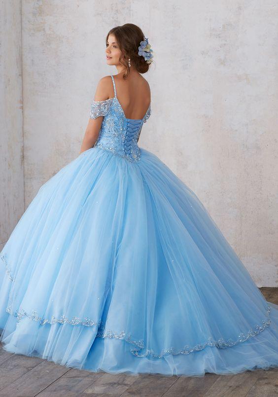 Vestidos de xv azul pastel