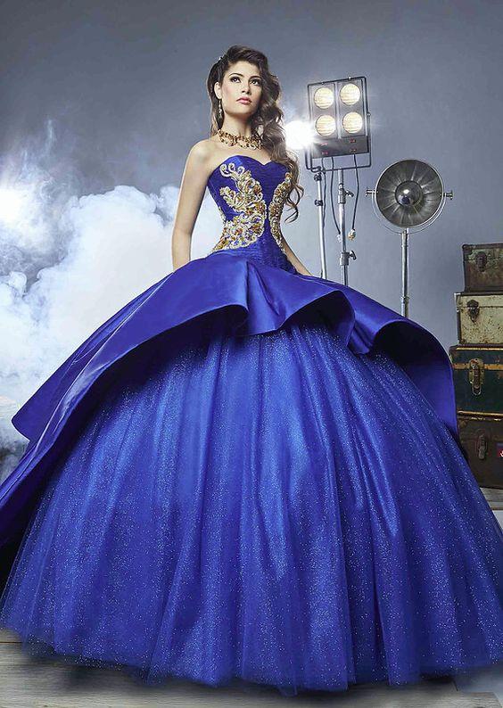 Vestido De Xv Azul Electrico Vestidos Largos