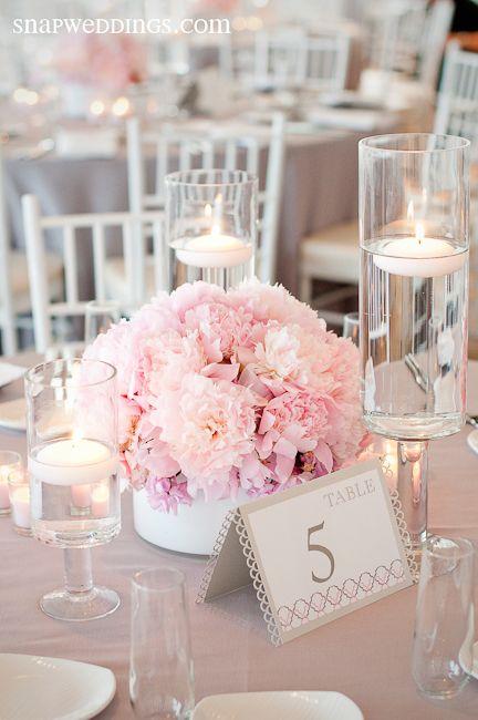 30 Centros de mesa en color rosaCentros de mesa en color rosa para 15