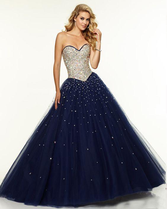 30 vestidos xv anos azul marino super elegantes 13
