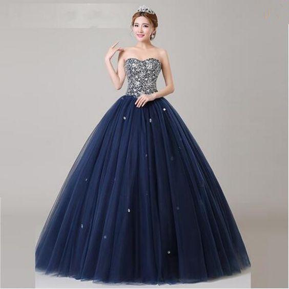 bdc3e3310 Vestidos de XV años azul marino