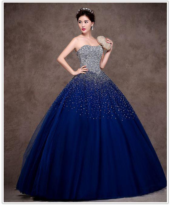 2ed4a8f824 30-vestidos-xv-anos-azul-marino-super-elegantes (23) - Ideas para ...