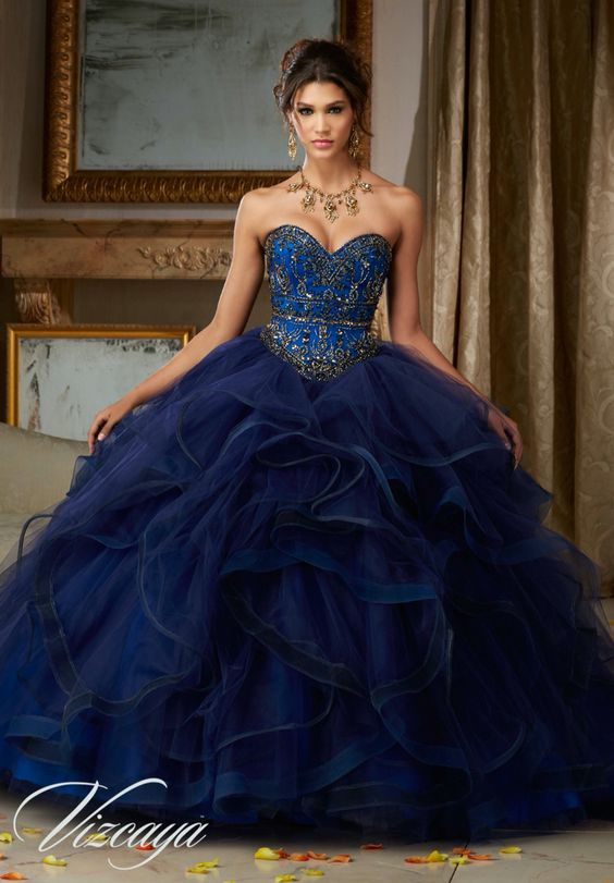 028b5e5a7 30 Vestidos de xv años azul marino ¡super elegantes!