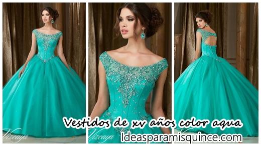 Vestidos de 15 azul verde