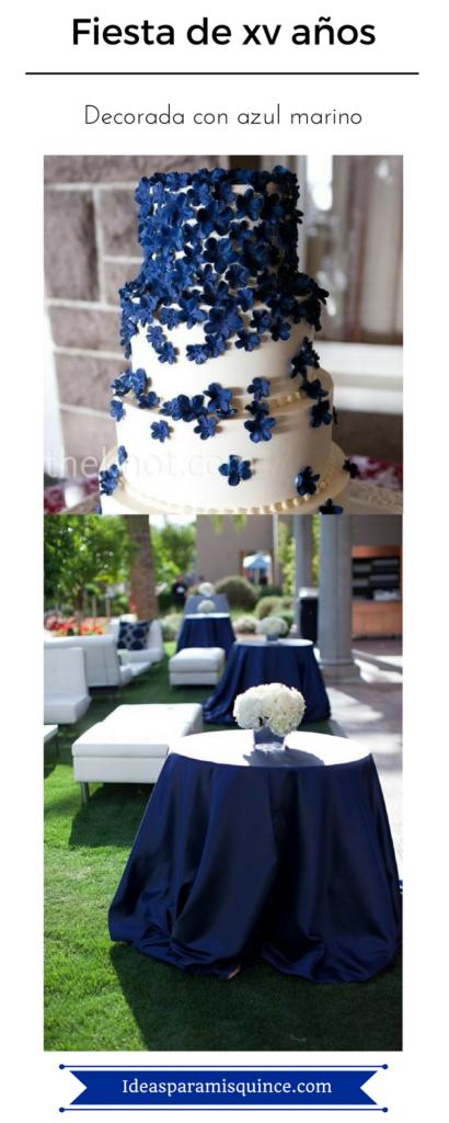 Decoración de fiestas de xv años color azul marino