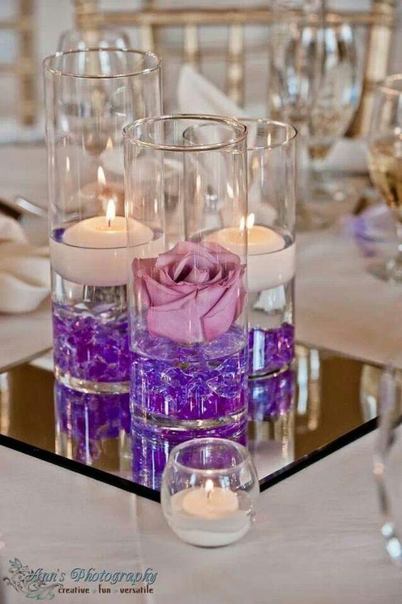 Centros de mesa para 15 a os con flores en agua for Decoracion de pared para quince anos