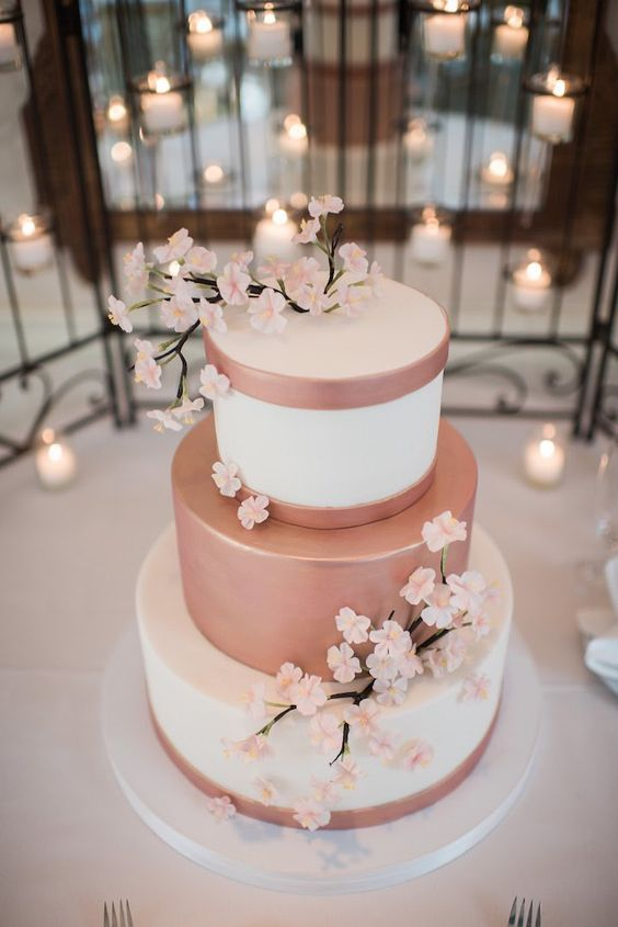 Cakes for 15 years rose gold color | Ideas to decorate XV