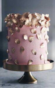 Pasteles para 15 años color oro rosa