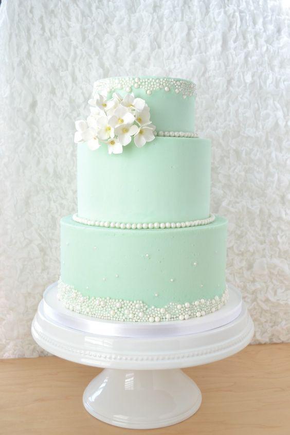 Pastel Pink And Green Wedding Cake