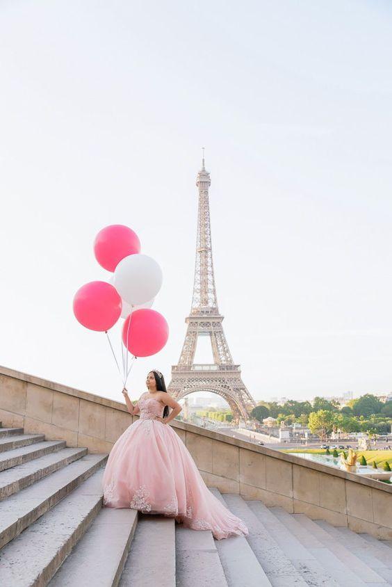 Fotos con globos para quinceañeras