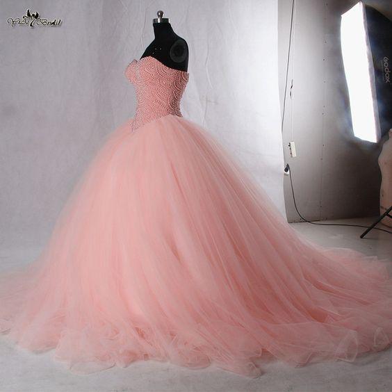 Vestidos para xv años en color coral