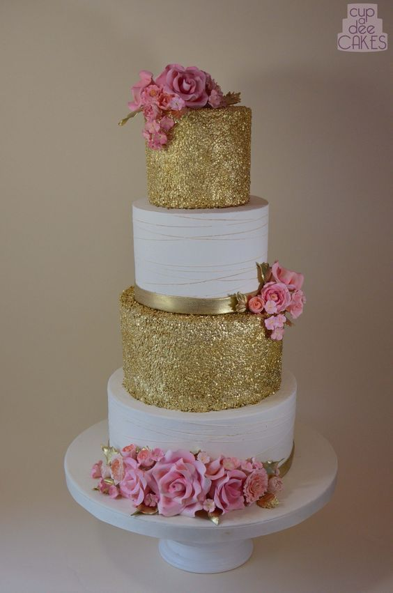 white wedding cake with gold glitter 25 dise 241 os modernos de pasteles para 15 a 241 os 27412