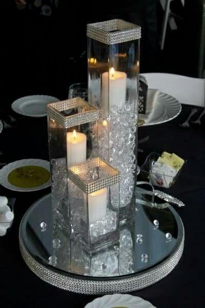 Centros de mesa con bases de cristal