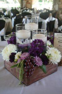 Centros de mesa para 15 años en color morado