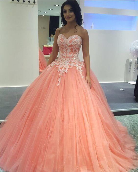 vestido de 15 anos para piel morena rosa coral