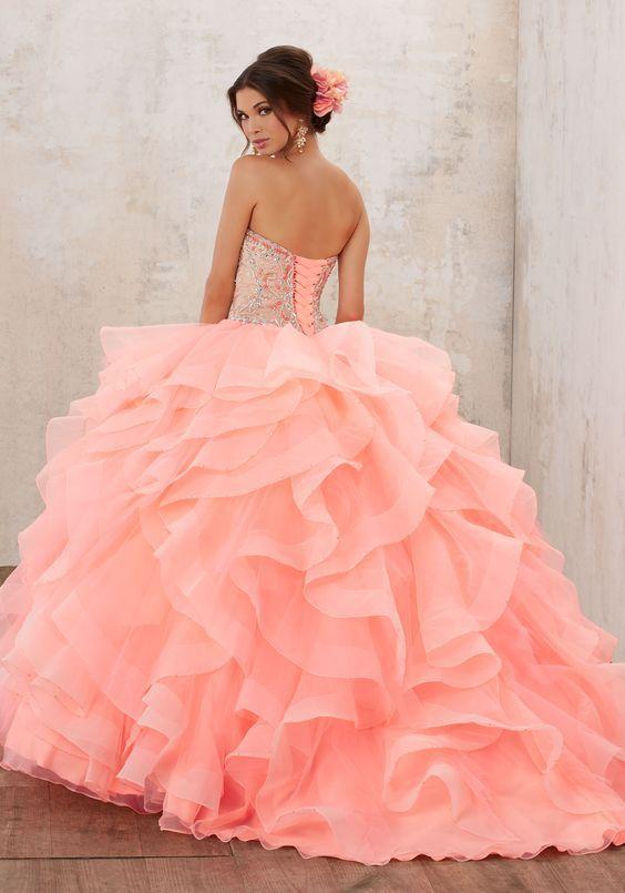 Vestido De Xv Anos Para Piel Morena Rosa Coral Ideas Para