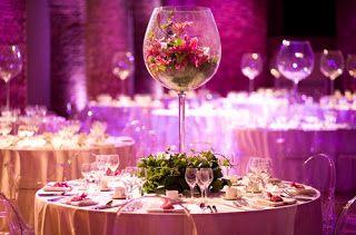 Centros de mesa para 15 con copas
