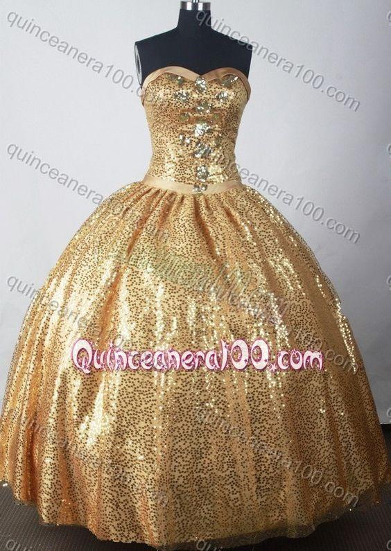 Vestidos de 15 años dorados 2017