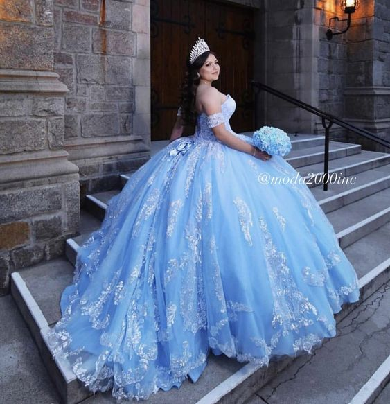 Vestidos de 15 color azul Las ultimas tendencias del 2019 - 2020