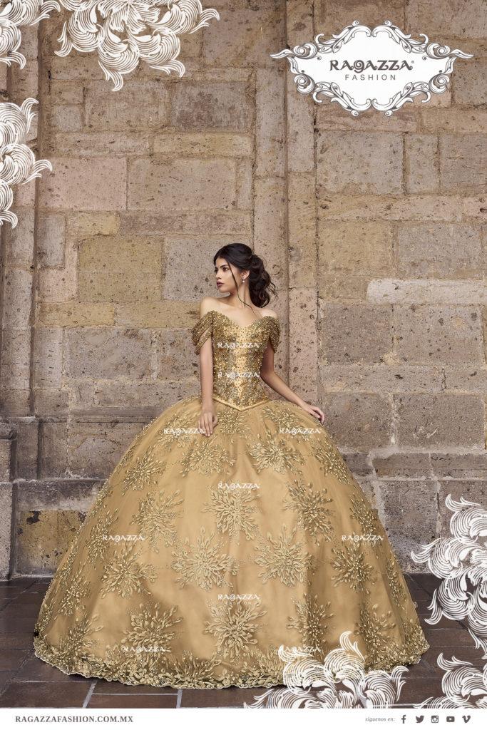 Vestidos de 15 color dorado