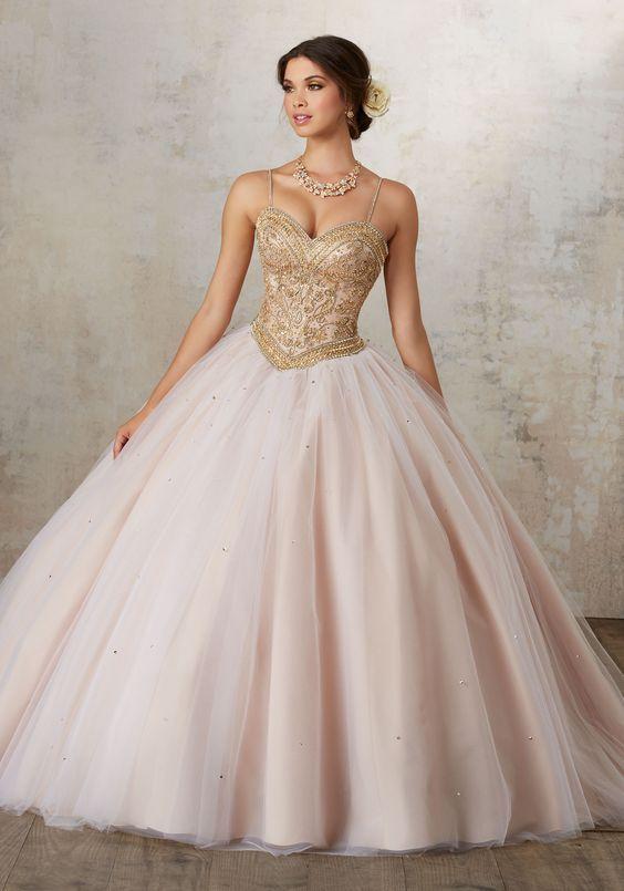 vestidos de xv color dorado con rosa (2)