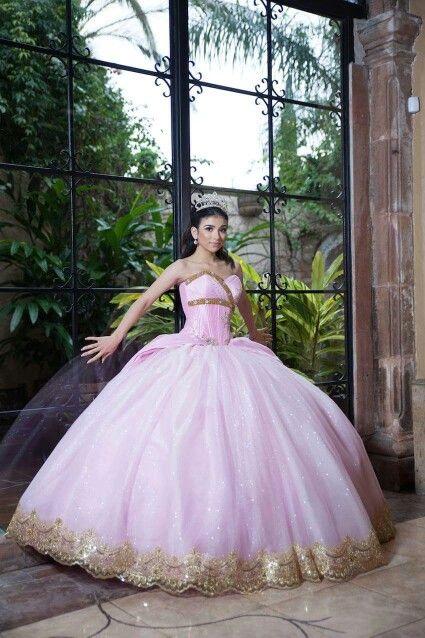 vestidos de xv color dorado con rosa (4)