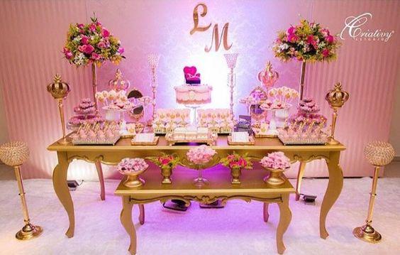 Mesas de dulces para 15 años elegantes