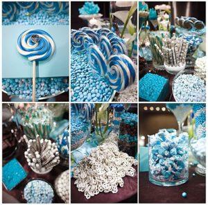 mesa de dulces para 15 años con caramelo
