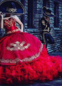 vestido de 15 años color rojo 2018