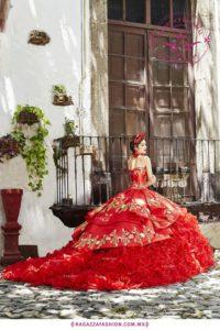 vestido de 15 años color rojo modernos