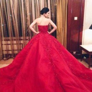 vestido de 15 años color rojo pasion