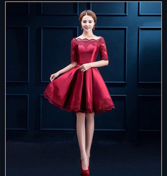 Disenos de vestidos cortos color rojo