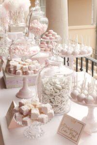 Mesa de dulces para 15 años color rosa blush