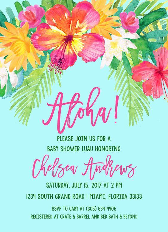 15 años hawaianos invitaciones
