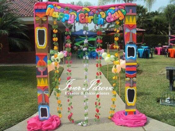 backdrops para fiesta hawaiana
