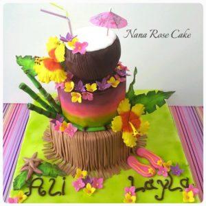 pastel para XV hawaiano